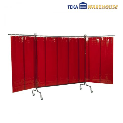 1x Panel protector móvil para trabajos de soldadura, naranja